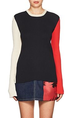 CALVIN KLEIN 205W39NYC Colorblocked Rib-Knit Sweater - Sweaters - 505617096