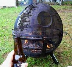 BBQ grill that looks like the Death Star from the Star Wars series.