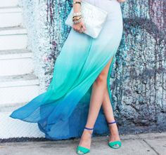 dip dyed blue maxi skirt witha slit in it