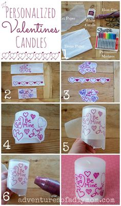 Personalized Valentines Candle - a quick easy gift idea for kids to make. crafts for kids Homemade Candles, Diy Candles, Homemade Gifts, Valentine Crafts, Holiday Crafts, Homemade Valentines, Craft Gifts, Diy Gifts, Candle Art