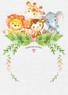 Cute watercolor jungle safari baby shower featuring a adorable giraffe lion monkey elephant with jungle leaves pink flowers set on a white burlap background. Perfect for a girls baby shower boys baby shower or gender neutral baby shower. Invitation Baby Shower, Baby Invitations, Baby Shower Invitaciones, Safari Theme, Jungle Safari, Safari Animals, Boy Decor, Baby Shower Balloons, Animal Birthday