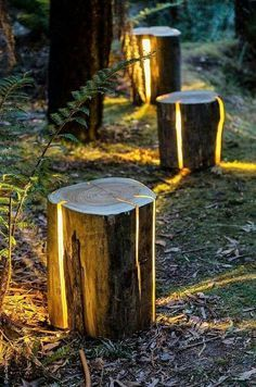 These DIY outdoor wooden log lamps are jaw dropping amazing and stunning, creating a rustic and wild impact in your outdoor. These are perfect for the people who love to innovate with the natural elements. you can scoop out the wood from the log and insert the light bulbs, place them on the pathways in your garden. #LogWoodProjectsDiy
