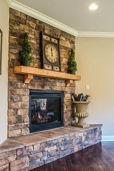 Fabulous Fireplaces   Liking the stone and wood block mantle. See more: http://homechanneltv.blogspot.com/2015/01/fabulous-fireplaces.html