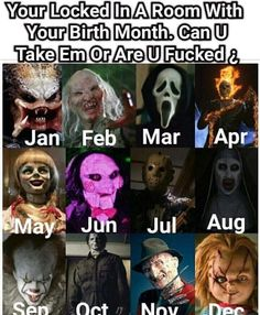 Damn I'm was hoping predator would be December but chucky is cool too Chucky, Horror Movies Funny, Horror Cartoon, Scary Movie Characters, Paranormal, Pennywise The Dancing Clown, Horror Monsters, Horror Icons, Movie Memes