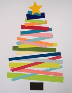 Easy craft for the kiddos to do – Christmas trees and paper strips. Would be fun to write something on the strips–things we are thankful for, favorite parts of the holidays?   best stuff