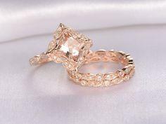 morganite wedding ring sets