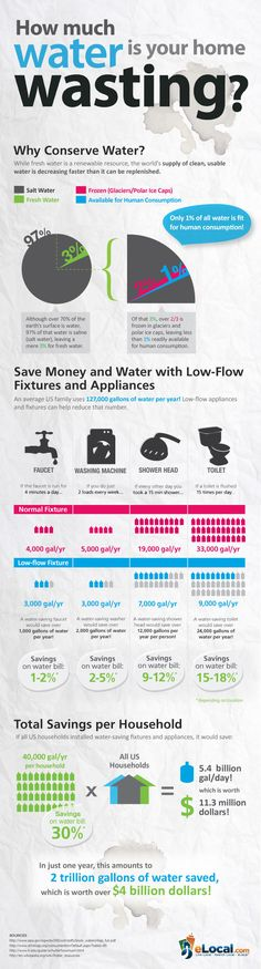 Home Water Conservation Infographic. We replaced our water hog toilets dishwasher shower heads and washing machine. Installed drip irrigation for drought tolerant yard. Saving Tips, Saving Money, Money Savers, Thinking Day, Water Conservation, Wildlife Conservation, Environmental Science, Sustainable Living, Sustainable Environment