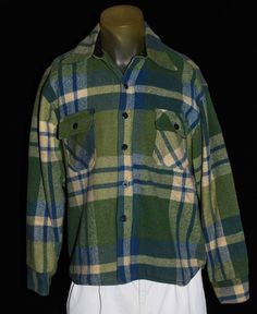 VTG 60's Brewster Sportswear Men's Med/Large Wool Plaid Jacket Coat Shirt Lined