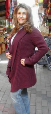 Dark red long jacket, alpaca wool