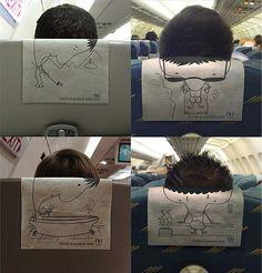 advertising, aeroplane, aeroplane head rest, airplane, back, clever