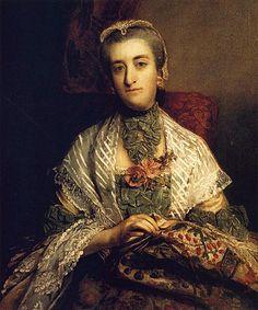 "Sir Joshua Reynolds       ""Caroline, Lady Holland,"" 1757-58, by Joshua Reynolds interesting neck piece"