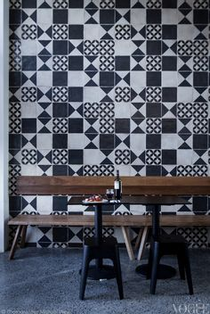 Cipro Pizza Sydney Handmade tiles can be colour coordinated and customized re. shape, texture, pattern, etc. by ceramic design studios (Mix Patterns Cement Tiles) Decor, Tile Patterns, Minimal Furniture, Tile Inspiration, Handmade Tiles, Interior, Tiles, Tile Design, Cafe Design