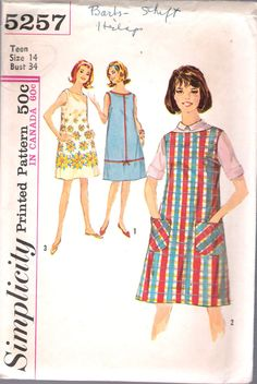 """Vintage 1963 Simplicity 5257 Teens One-Piece Dress Sewing Pattern Size 14 Bust 34"""" by Recycledelic1 on Etsy"""