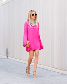 """Excited to bring you guys this flirty little fuchsia dress on the blog tomorrow with @nordstrom ! 💗💗 It's only $55 and has the best bell sleeves! It actually looks much shorter on the website than it actually is (I'm 5'7"""" and wearing a 2) and  shows just the right amount of leg 😍.  Such a great date night dress! Shop my entire outfit (under $100) tonight before it hits the blog tomorrow via @liketoknow.it by liking or taking a screenshot of my photo 💗💗 http://liketk.it/2qUbL #liketkit"""