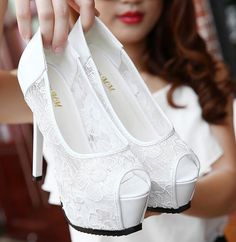 8-free shipping 2015 new vogue sexy single shoes women lace pumps ladies fashion peep toe platform high heels white black 14cm alishoppbrasil