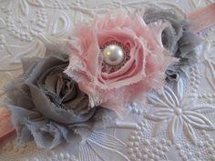 Grey & Pink Shabby Chic Chiffon Flower Headband -  Newborn Headband. Baby Hair Accessories. Toddler Headband. Girl Hair Accessories. $8.25, via Etsy.
