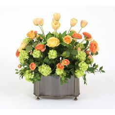 Distinctive Designs 7412 Yellow, Coral and Green Silk Floral Mix in a Bronze Scalloped Corner Planter
