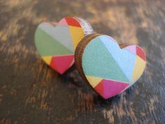 Earrings Wooden Heart by EACH TO OWN on Etsy.