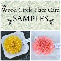 SAMPLES  Wooden Flower Wedding Place Cards / by companyfortytwo, $3.50