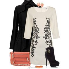 Black & Cream & Coral, created by jafashions on Polyvore