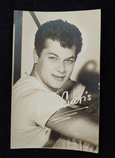 Tony Curtis 1950s Signed Black and White Photo Postcard of   Etsy