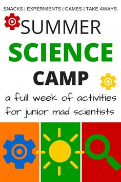 Summer Science Camp for kids! Put together a full week of summer science camp including science snacks, science games, science experiments and activities, and science make and take ideas. This summer science camp is perfect for kindergarten and grade scho Science Week, Summer Science, Cool Science Experiments, Preschool Science, Science For Kids, Science Activities, Mad Science, Science Projects, Science Ideas