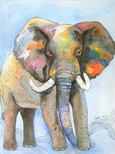OOAK 8x10 Original Watercolor Elephant art Nursery by asho on Etsy, $20.00