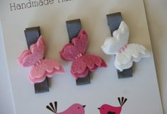 felt butterfly hair clips