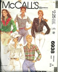 Vintage Sewing Pattern For Womans Western Cowgirl Shirt UNCUT