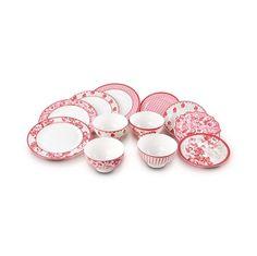 Jogo de jantar mix and match chinoiserie rouge em porcelana 12 peças