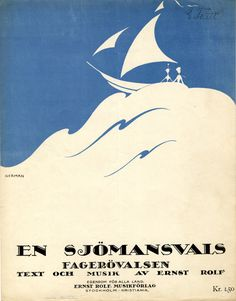 Illustrated Sheet Music Covers by Einar Nerman - En sjömansvals (A Sailor's Waltz), 1918 Music Room Organization, Music For Studying, Music Painting, Retro Illustration, Illustrations, Music Covers, Book Covers, Music Logo, Vintage Graphic Design