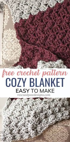 Make the Charlotte Crochet Blanket using this free chunky crocheted throw pattern. This bulky yarn blanket is easy and perfect for beginners! Quick Crochet Blanket, Crochet Baby Blanket Free Pattern, Crochet For Beginners Blanket, Crochet Afghans, Afghan Crochet Patterns, Crochet Basics, Beginner Crochet, Chunky Crochet Blankets, Free Crochet Patterns For Beginners