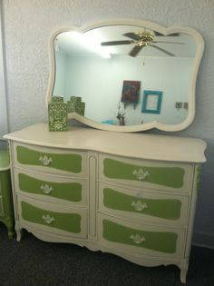 Green & white upcycled dresser - SOLD