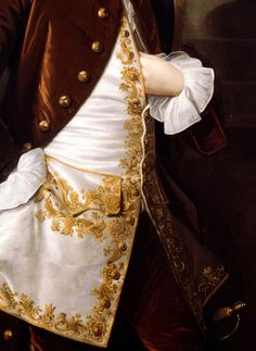 1750 detail of a frockcoat cuff & waistcoat from Portrait of a Young Man by Thomas Hudson, currently in the Dulwich Picture Gallery Old Paintings, Beautiful Paintings, Mode Renaissance, Dulwich Picture Gallery, 18th Century Fashion, 17th Century, Art Deco Diamond, Diamond Brooch, Textile Art