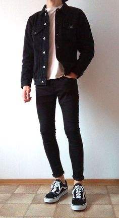 [ VISIT FOR MORE vans old skool black skinny jeans boys guys outfit Mode Outfits, Grunge Outfits, Jean Outfits, Fashion Outfits, Mens Fashion, Woman Fashion, Guy Outfits, Outfits For Boys, Cochella Outfits