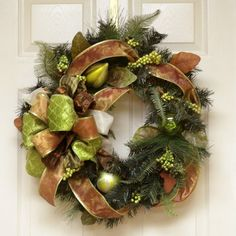 Green and Brown Christmas Ornament Wreath CR1039 : Floral Home Decor, silk rose arrangements, tulip floral arrangements, magnolia silk flower arrangements, tropical arrangements, tropical silk flower arrangements, peony arrangement, sunflower arrangements