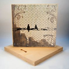 Chain Link Birds Art Print on Wood
