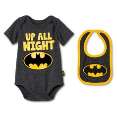 Newborn Boys' Batman Bodysuit & Bib Set - Grey