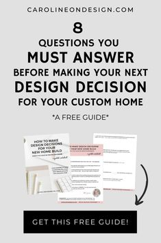 This FREE guide will help you STOP second-guessing yourself and START confidently making design decisions for your home build. Interior Decorating Tips, Interior Design Tips, Playroom Design, Nursery Design, Home Building Tips, Building A House, Organizing Walk In Closet, Hallway Designs, Bathroom Designs