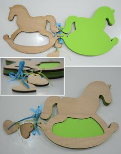 guest book for a boy's christening with 50 green seates with the rocking horse as a theme -  there are more options for the color of the sheets price: 40euro cover: Wood dimensions 20x23cm amoraitoy@yahoo.com