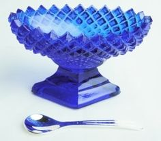 Cobalt Blue Glass English Hobnail Salt DIP with Spoon | eBay