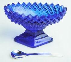 Cobalt Blue Glass English Hobnail Salt DIP with Spoon | eBay