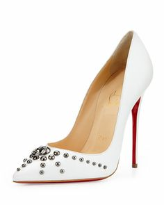 Door Knock Leather Red Sole Pump, White by Christian Louboutin | SS 2014 | cynthia reccord