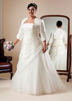 Beautiful, plus size wedding dresses, larger size wedding gowns and bridal accessories to make sure the fuller figure bride looks and feels extra special. Cheap Wedding Dress, Wedding Dress Styles, Bridal Dresses, Girls Dresses, Bridesmaid Dresses, Plus Size Wedding Dresses With Sleeves, Plus Size Wedding Gowns, Plus Size Dresses, Beautiful Wedding Gowns