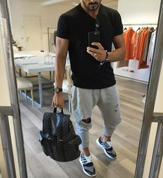 #distressLifeStyle black t shirt #distress jogger trainers and @louisvuitton #backpack [ http://ift.tt/1f8LY65 ]