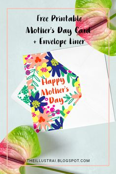 Download this free printable Mother's Day Card & Envelope Liner Pattern on the blog >> THE ILLLUSTRAI