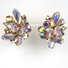 Christian Dior by Kramer Aurora Borealis and Pendant Glass Beads Clip Earrings