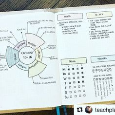 @teachplancraft is one of my favorite go-tos for innovative page designs. You should add her feed to your list of favorites too. #Repost @teachplancraft with @repostapp ・・・ Midweek in my bullet journal. I LOVE the week at a glance circle in the left - it's so easy to add things when I need to. Hope your week is going well! Stamps and leather cover by Foxy Fix.  #bulletjournalchallenge #bulletjournaljunkies #bulletjournallove #bulletjournaladdict  #bulletjournalcommunity #bulletjournal…