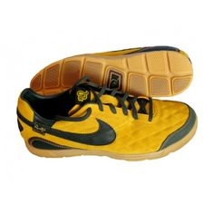 #NIKE_10R_PELADA_INDOOR_SOCCER_SHOES YELLOW OCHRE/GREEN -- Inspired by #Ronaldinho's latest line of #footwear.... See more details and shop online!! #soccer #nikeshoes