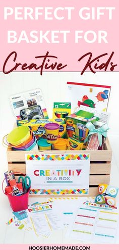 The perfect gift basket for creative kids! This gift basket is perfect for any holiday or occasion. It will keep your kiddo bust and give them all the tools they need to create whatever they can imagine. Instead of sticking your kid with an iPad and walking away these gift baskets for creative kids are the perfect alternative. #giftbasket #easter #art #kidactivities Creative Box, Creative Crafts, Easy Crafts, Kids Gift Baskets, Handmade Wooden Toys, Woodworking Projects For Kids, Baking With Kids, Arts And Crafts Projects, White Elephant Gifts